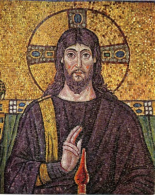 The sixth-century mosaic of Jesus at Basilica of Sant' Apollinare Nuovo in Ravenna, Italy.