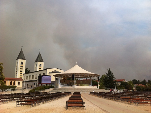 fires over St. James Church