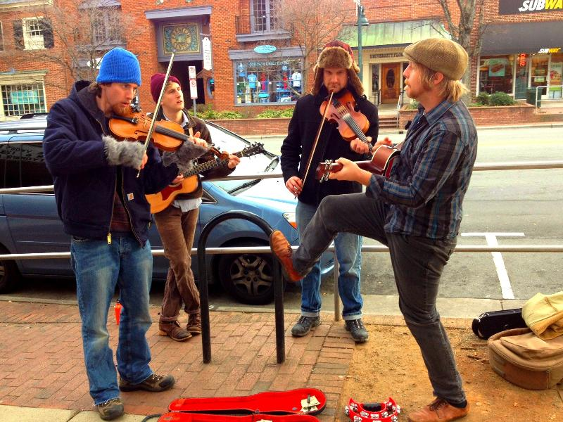 Musicians busking on Franklin Street.