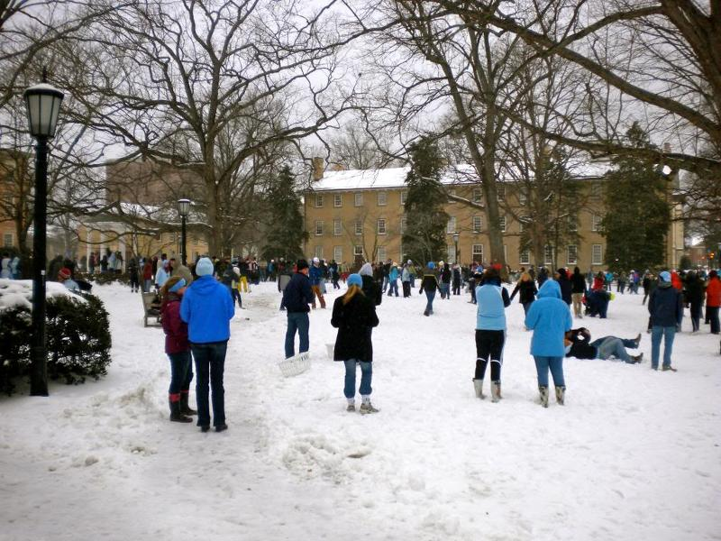 Snowball fight on UNC campus - 2009