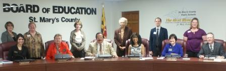 St. Mary's County School Board members and library staff