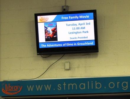 Picture of TV screen at Leonardtown Library