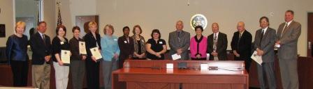 Receiving proclamation at BOCC meeting