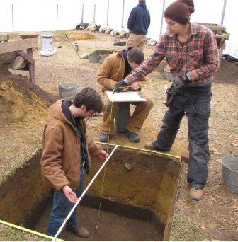 students digging