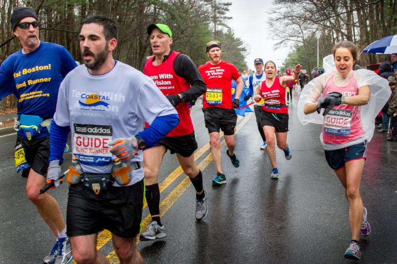 Team With A Vision runners competing in the Boston Marathon (left to right: Randy Pierce, Peter Houde, Greg Hallerman, Kyle Robidoux, Michelle Becker, and Christine Houde)