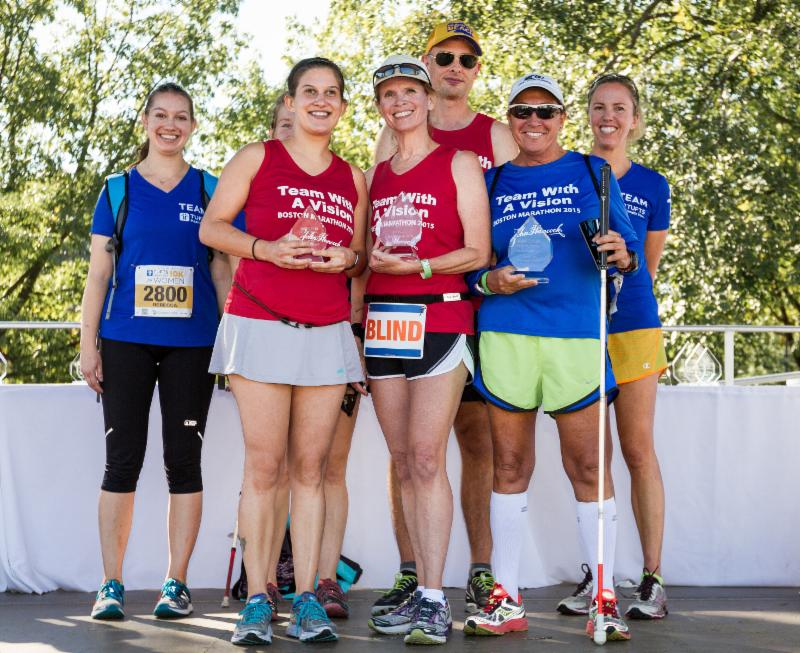 Some of the competitors and guides from Tufts Health Plan 10K for Women_s inaugural Blind and Visually Impaired Division_ from left to right_ are_ Rebecca Tieri _guide__ Kate Katulak_ Joyce Cron_ Alex Lenz _guide__ Diane Berberian and Jen Butler _guide_ _Photograph_ Kevin Morris_