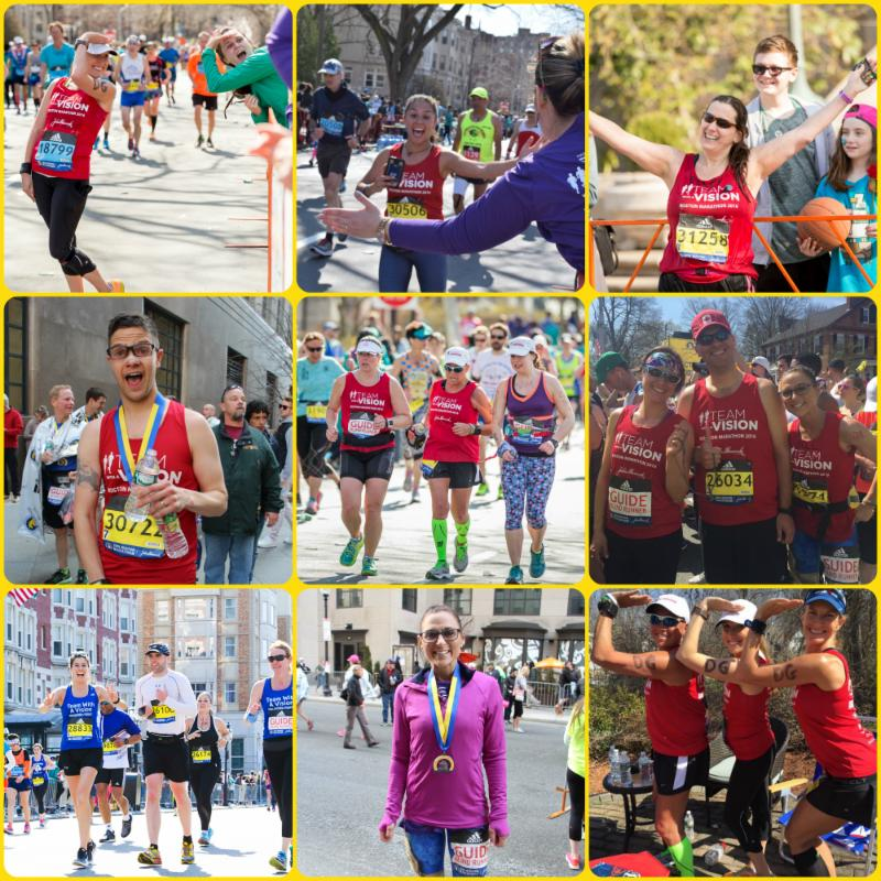 A photo collage_ Featured in the top row_ left to right_ Kristin Van Steenwyk giving her classic Delta Gamma Anchor pose_ Allie Crouse snapping a selfie at the 24.5 Cheer Section_ Ellen Goldberg with her hands raised high mid course_ Featured in the middle row_ left to right_ Josh Warren just after finishing the marathon_ Molly Whittaker running alongside Diane Berberian and Sam Tucker_ and Jill Konopka with guide Leslie Solomonian and Tim Sullivan at the start of the marathon_ Featured in the last row from left to right is Nicole Perry guiding in her first Boston Marathon and first marathon EVER_ Nicole is running alongside Simon Wheatcroft and fellow guide Heather Armstrong. Just to the right of Nicole is Jill Konopka_ sporting her finishers medal with a grin from ear to ear_ you_d never know she just ran 26.2 miles_ Posing with the iconic Delta Gamma Anchor pose are Diane Berberian_ Kristin Van Steenwyk_ and Lisa Smith_
