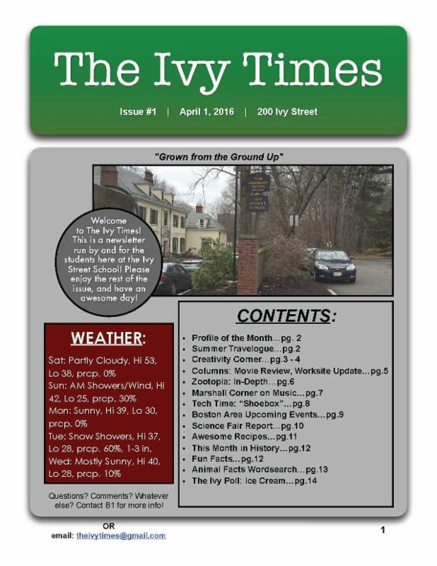 The cover of Issue 1 of the Ivy Times
