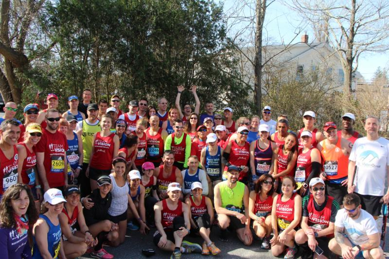 A Team photo taken in Hopkinton on Marathon Monday morning