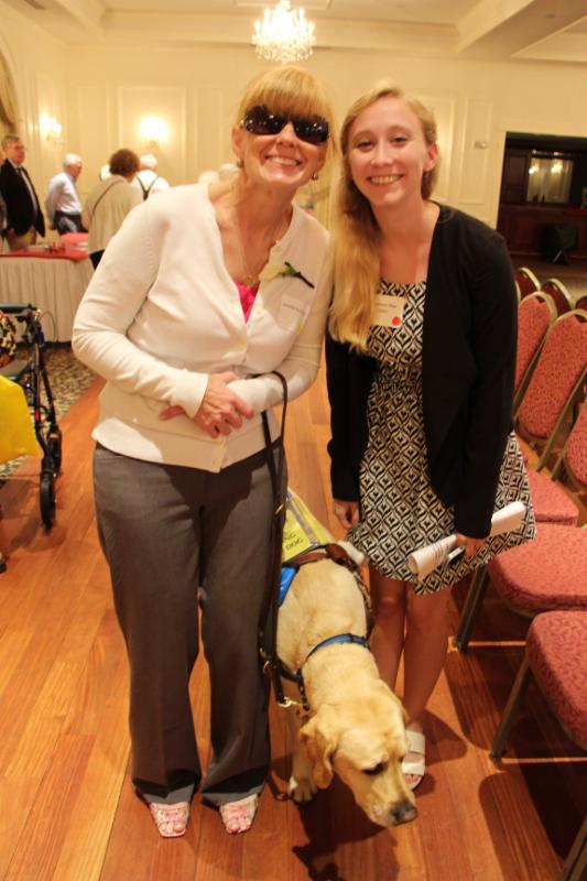 Jen Buchanan, Shannon May, and Jen's dog Keating at MABVI's recent Senior Connection