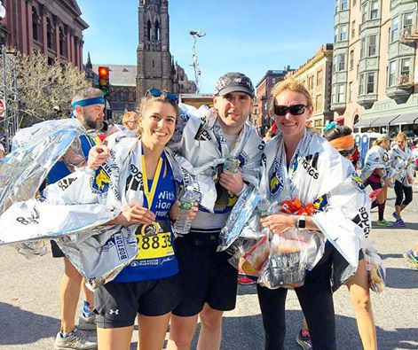 Team Wheatcroft - Nicole Perry_ Simon Wheatcroft_ and Heather Armstrong - right after finishing the Boston Marathon 2016
