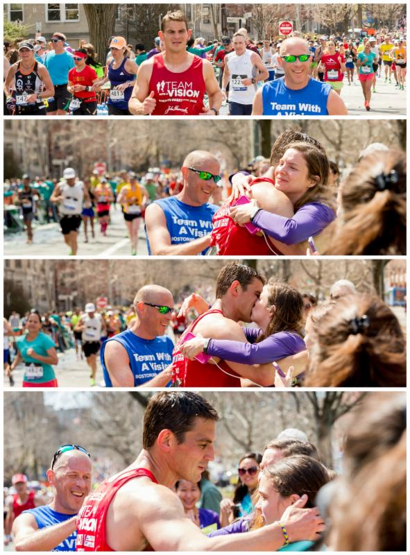 Runner Chris Lancaster stops to embrace  his family along the route