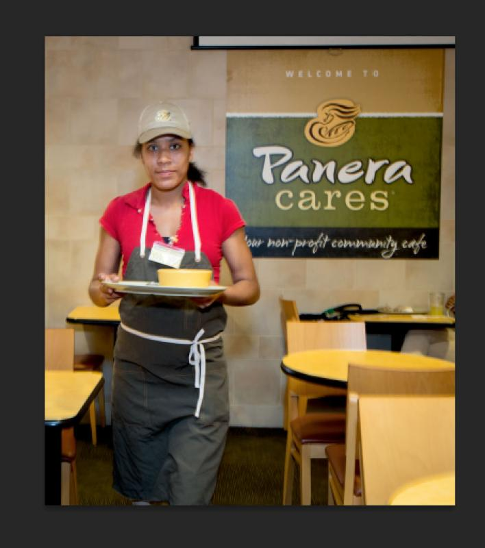 An Ivy St. student working at PanerCares in Boston