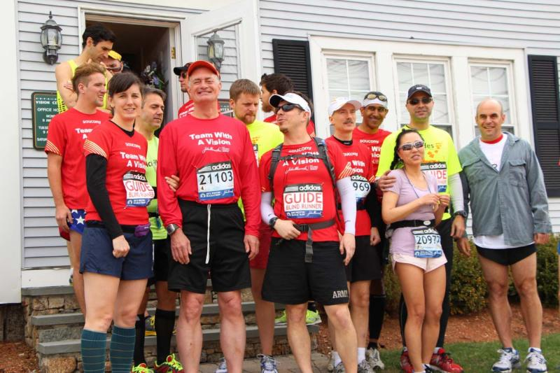 Team With A Vision posing on the morning of the 2014 Boston Marathon