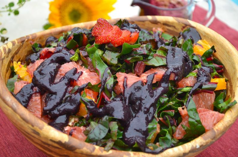 Citrus Swiss Chard Arugula Salad w Blueberry Date Drizzle