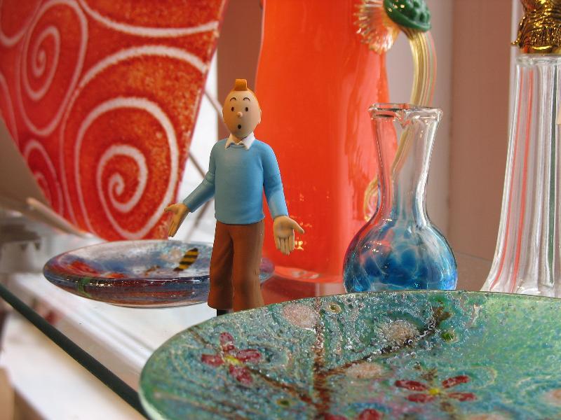 Tintin on Glass Shelves