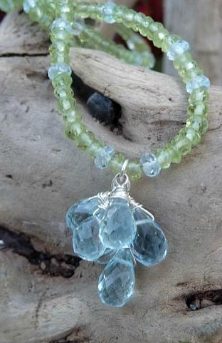 KF Blue Topaz and Peridot Necklace