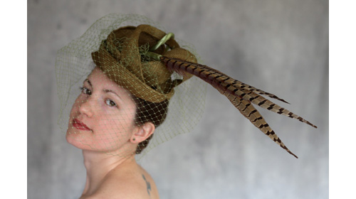 Ann De Vuono Green Hat w/ Pheasant Feathers