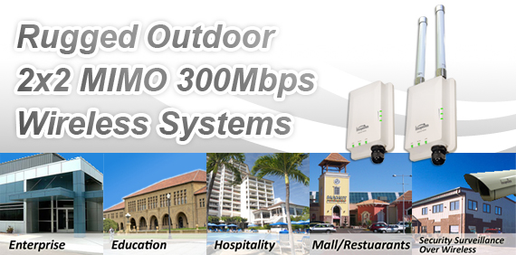 Rugged Outdoor 2x2 300Mbps Wireless Systems