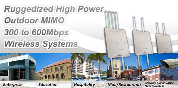 Ruggedized High Power Outdoor MIMO 300 to 600Mbps Wireless Systems
