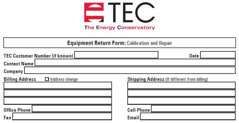 Calibration Frequency Change New Equipment Return Form