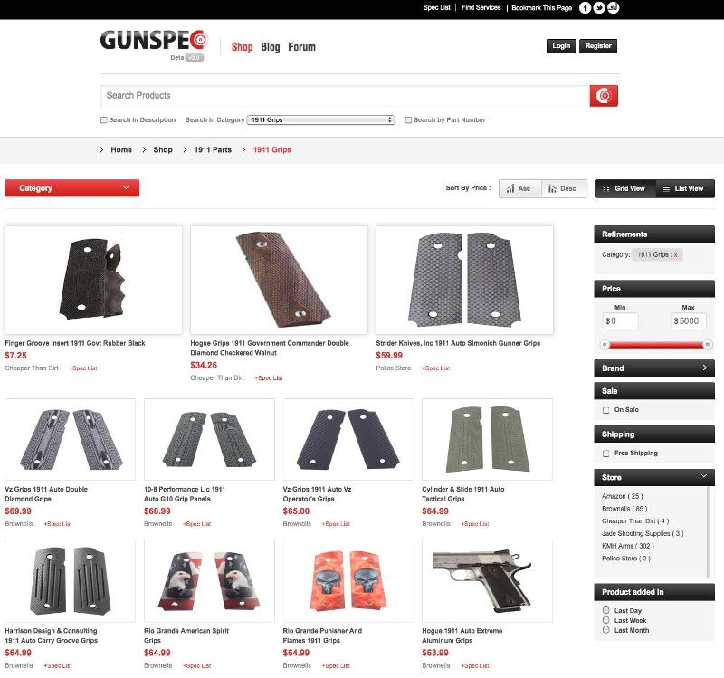 GunSpec Shopping Page