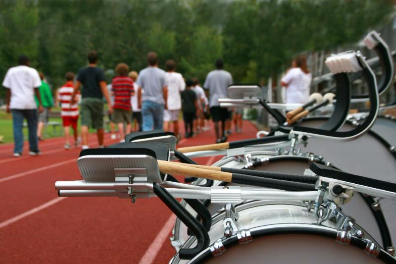 students at marching band practice