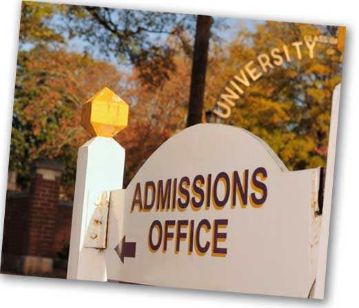 College Admissions Sign