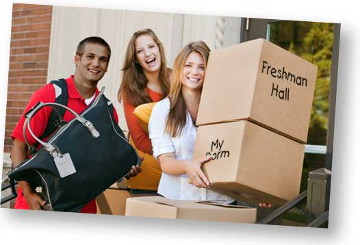 Freshman moving into dorm