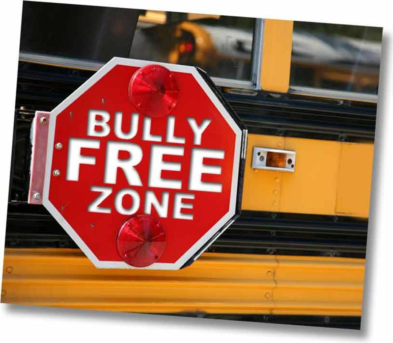 Bus with Bully Free Zone Sign