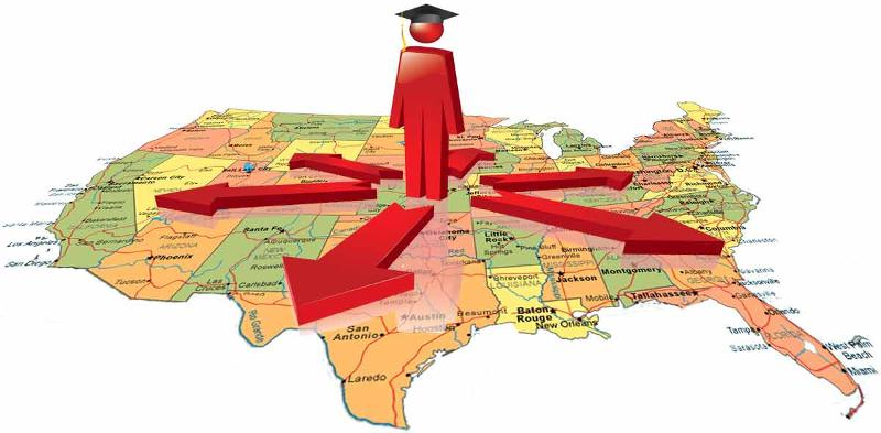 Graduate Standing on US Map