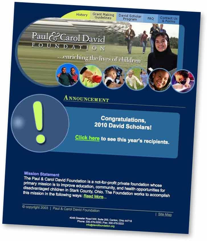 Paul and Carol David Foundation Web Site