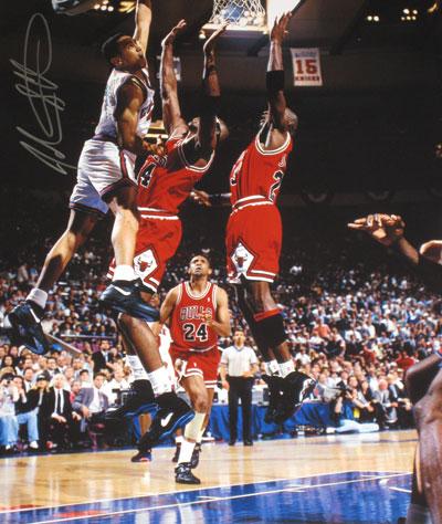 24 hour sale john starks signed 16x20 photo dunk over michael jordan