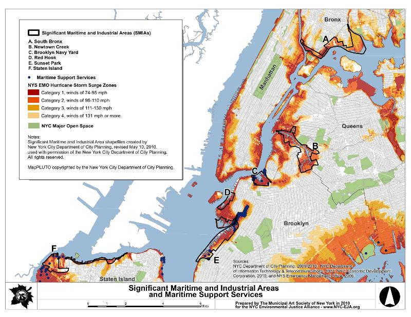 NYC Environmental Justice communities and storm surge zones