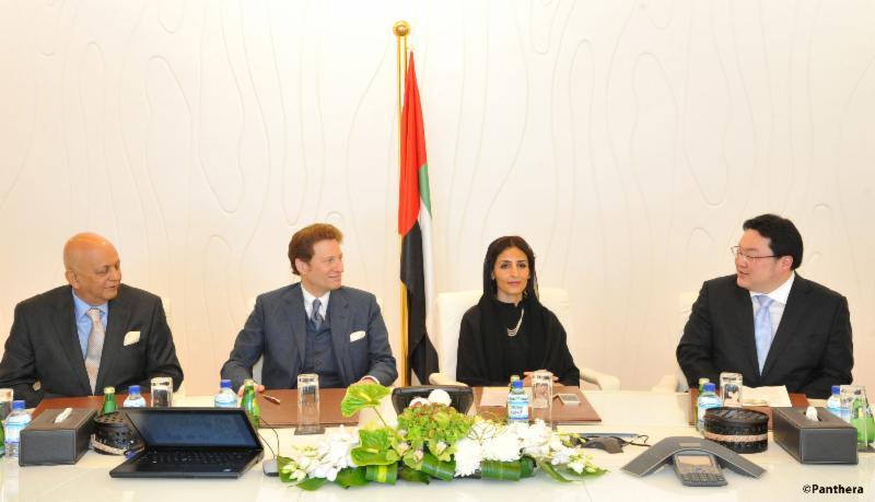 Mr. Hemendra Kothari, Dr. Thomas Kaplan, Her Excellency Razan Khalifa Al Mubarak, and Mr. Jho Low (left to right) announce a new global alliance in Abu Dhabi committing