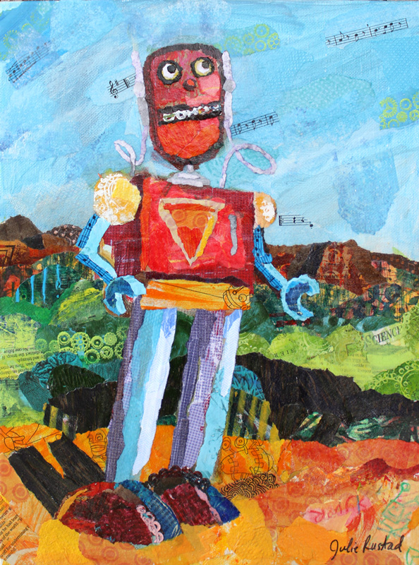Tom the robot paper painting