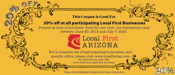 Golden Coupon for Independents Week at Local First Arizona