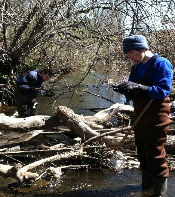 Volunteers Eric Devlin and Annie Kreider at Shute Brook.
