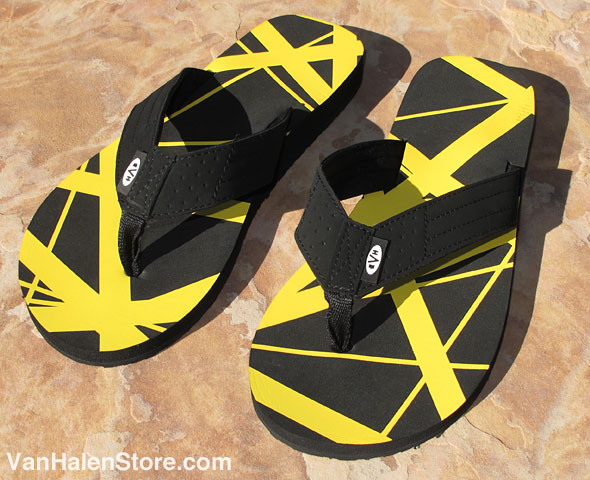 Black and Yellow EVH Flip Flops