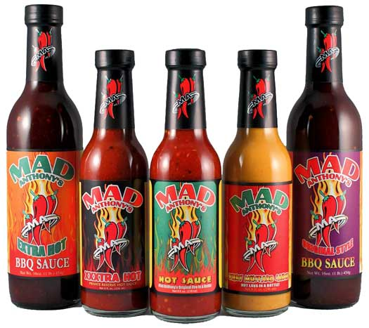 Mad Anthony award-winning Hot Sauces, Mustard, and BBQ Sauces