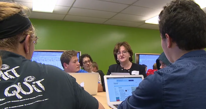 Commissioner Elia in a P-TECH classroom