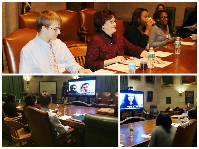 students with Commissioner Elia during Google Hangout about technology in schools