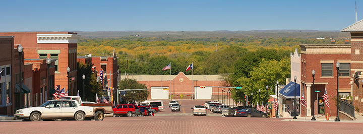 Main Street, Canadian, Texas, looking toward the lush Canadian River Valley