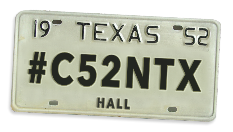Hall County license tag