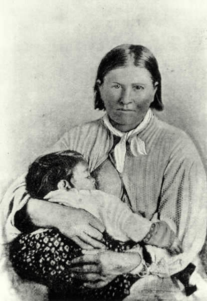 Cynthia Ann Parker and daughter Topsanna after their return to Parker family