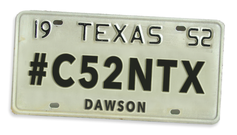 Dawson County license tag