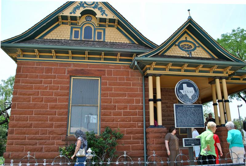 Visitors marvel at the 1901 Potton House, a Texas recorded landmark.