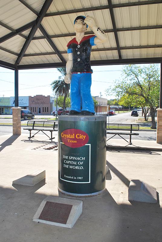 Popeye statue_ Crystal City_ Texas