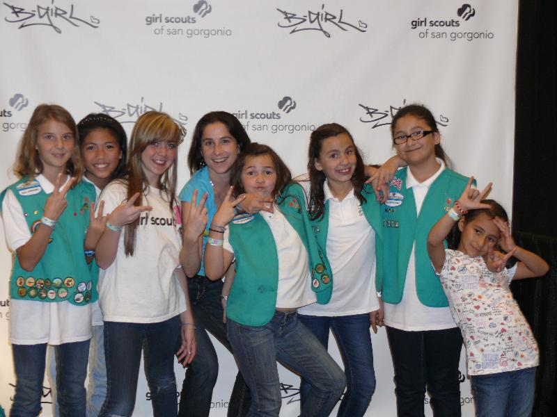 Emily with Girl Scouts