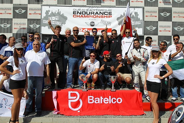 Batelco celebrate winning the 2014 Endurance Championship driven by Mini after finishing second in the in the Kartdrome 24 Hours